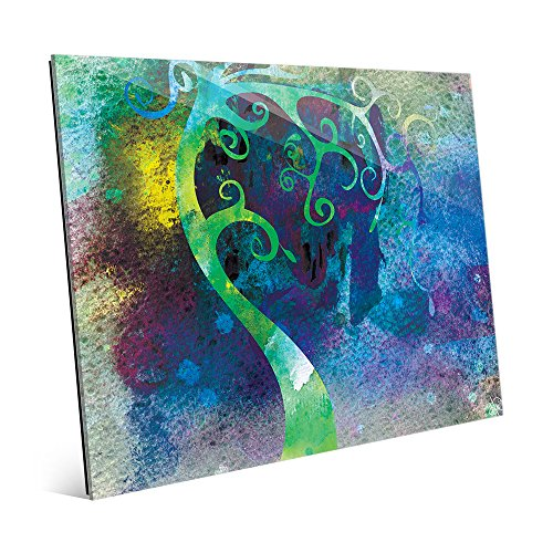 Viridian Curved Tree Trunk Abstract Watecolor Wall Art