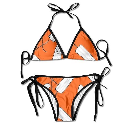 9a7ca7e3c5 Amazon.com  Women Kawaii Tampons Orange Sexy Bikini Set Swimsuit Bathing  Suit  Clothing
