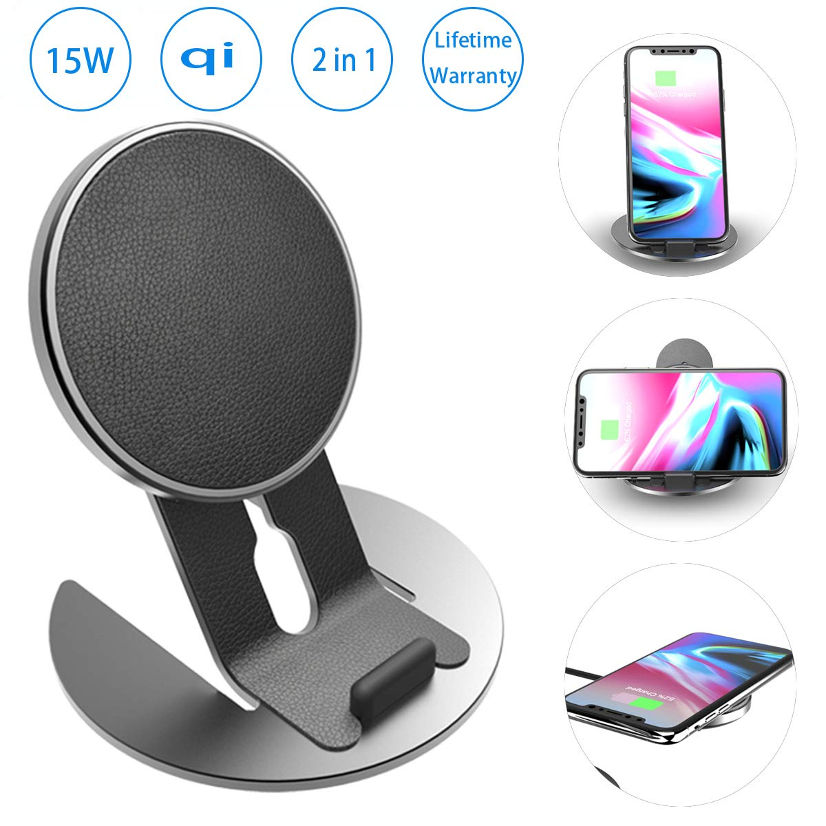 15w Qi Wireless Charging Pad,[15w Fast Charging][2 in 1 Detachable Wireless Charging Stand] Wireless Charger Fits for iPhone X/XR/XS Max/Samsung Galaxy S10+Plus/S10 5G/S9,Qi-Enabled Phone(No Adapter)