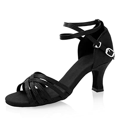 GetMine Women s Professional Latin Dance Shoes Satin Salsa Ballroom Wedding Dancing  Shoes 2.4   Heel 84a5fd950fd9