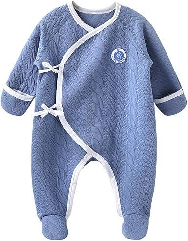 COBROO Pijama 100% algodón recién nacido con manoplas cinturón lateral para bebé de 0 a 6 meses