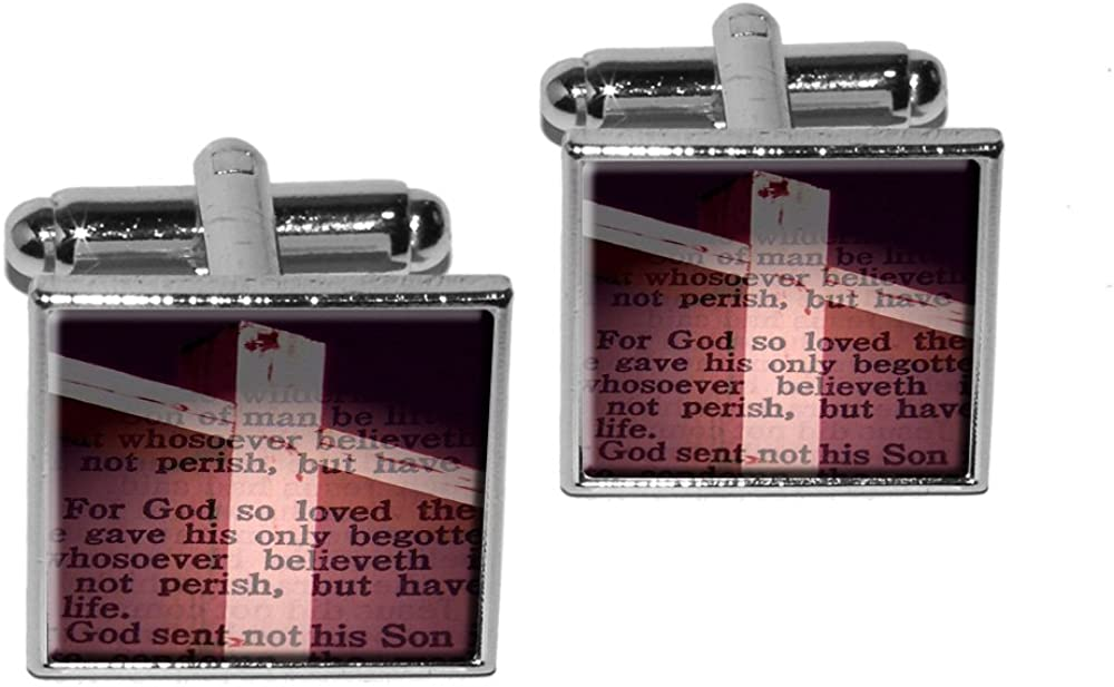 Silver Cross and Bible Verse John 3-16 for God So Loved The World Square Cufflink Set
