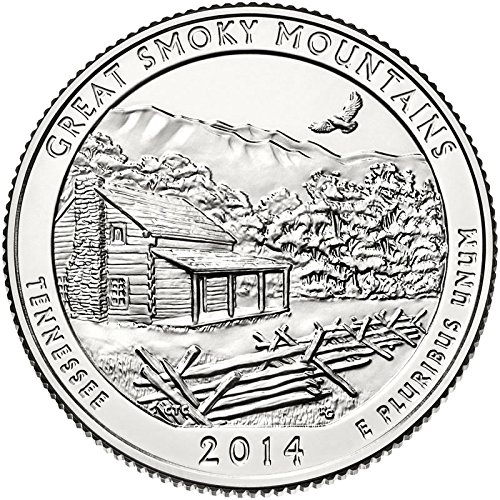 US 2014 Tennessee Great Smoky Mountains National Park Quarter BU Uncirculated Coin Gold Silver Two Tone Leather Key Chain Ring NEW America the Beautiful