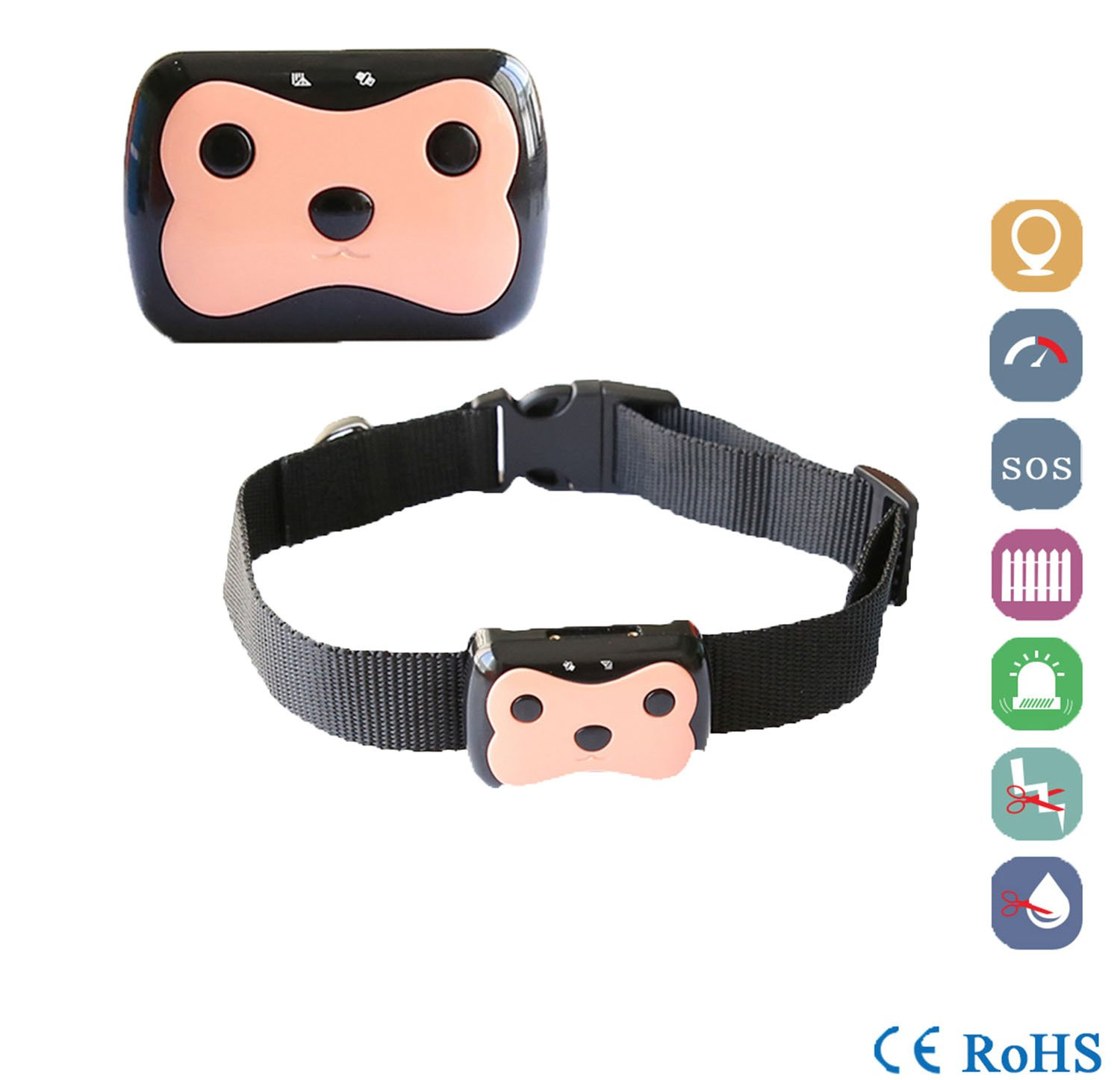 Real Time Pet Locator Gps Lbs Tracker Mini Smart Dogs Cats Collar Waterproof Anti-Lost Device Remote Safety Alarm,Black