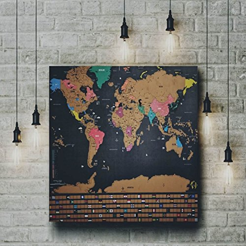 Scratch off World Map Travel Tracker Poster   w/ US States