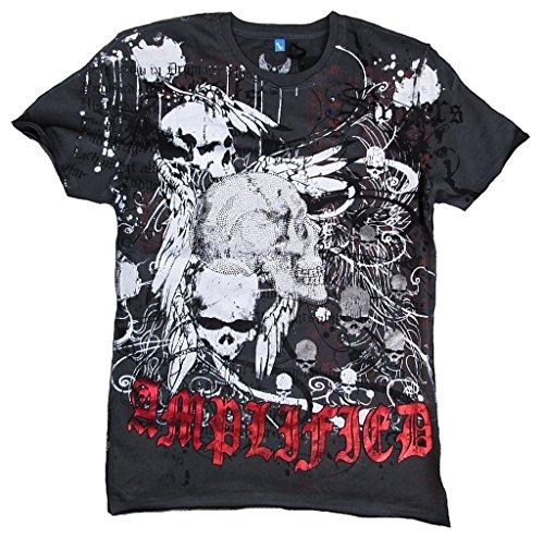 Shirt Tête Ange Tattoo Rock Star Anthracite Spirit Edition Saint Gangster Special Amplified Sinner Mort Strass Vintage Ghost De Esprit Gris Dark Black dFwqAxA8p