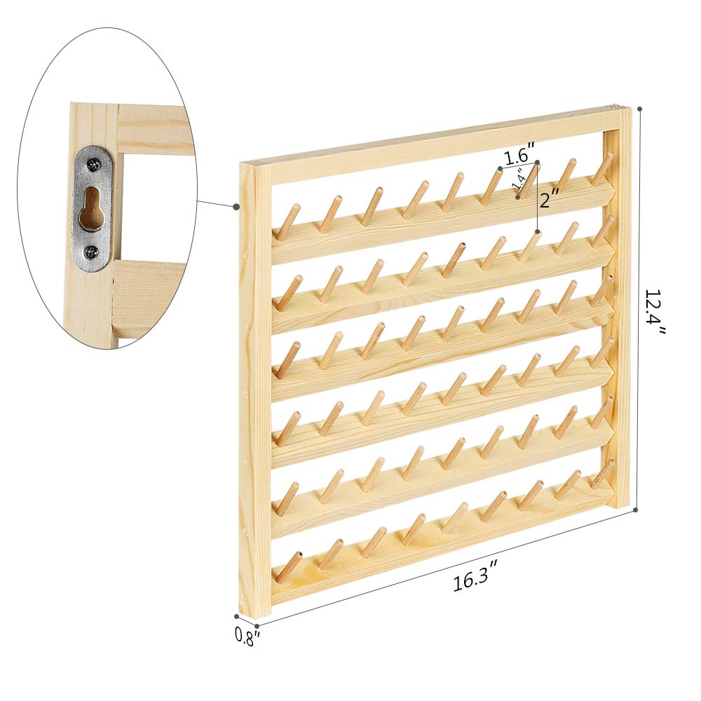 Embroidery Quilting HAITARL 54-Spool Sewing Thread Rack Wall-Mounted Sewing Thread Holder with Hanging Hooks Jewelry(HT-BD005) Wooden Organize for Mini Sewing