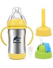 Bammax Trinklernbecher, 3 IN 1 Trinkflaschen, Trinklernflasche, Baby Trinkbecher Edelstahl&PP, mit weicher Silikontrinktülle, Auslaufsicher, BPA Frei, 180ml