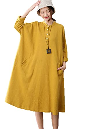 d9553ade5c4 FantasyLinen Yellow Linen Casual Dress for Womens at Amazon Women s Clothing  store