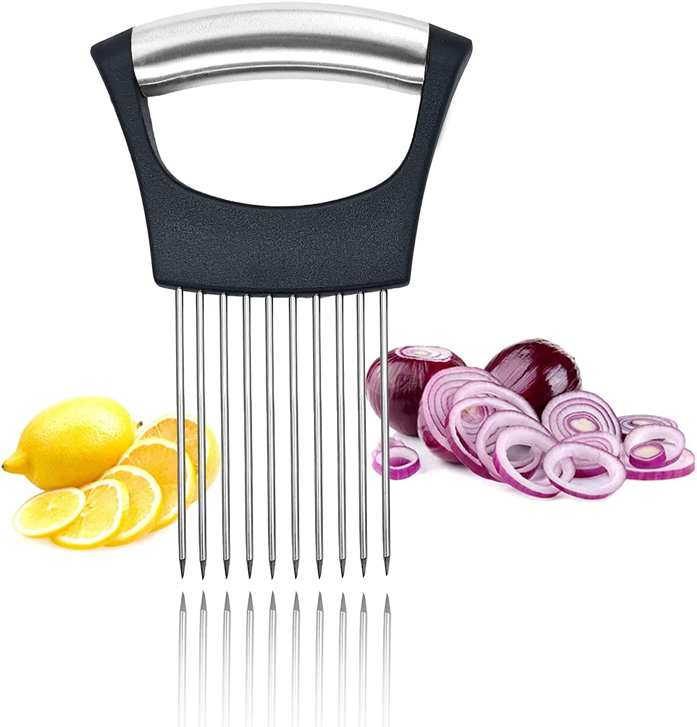 WAEKIYTL Onion Slicer, Vegetable Tomato Cutter Onion Holder Slicer Meat Slicer 304 Stainless Steel Food Slice Assistant Tool, Kitchen Gadget Onion Cutter Tenderizer Tool
