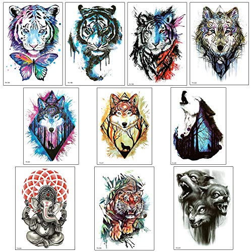 10 Sheets Arm Temporary Tattoo Stickers for Men and Women, Tiger, Wolf Chest Shoulder Tattoos, Guys Teens Waterproof Fake ()