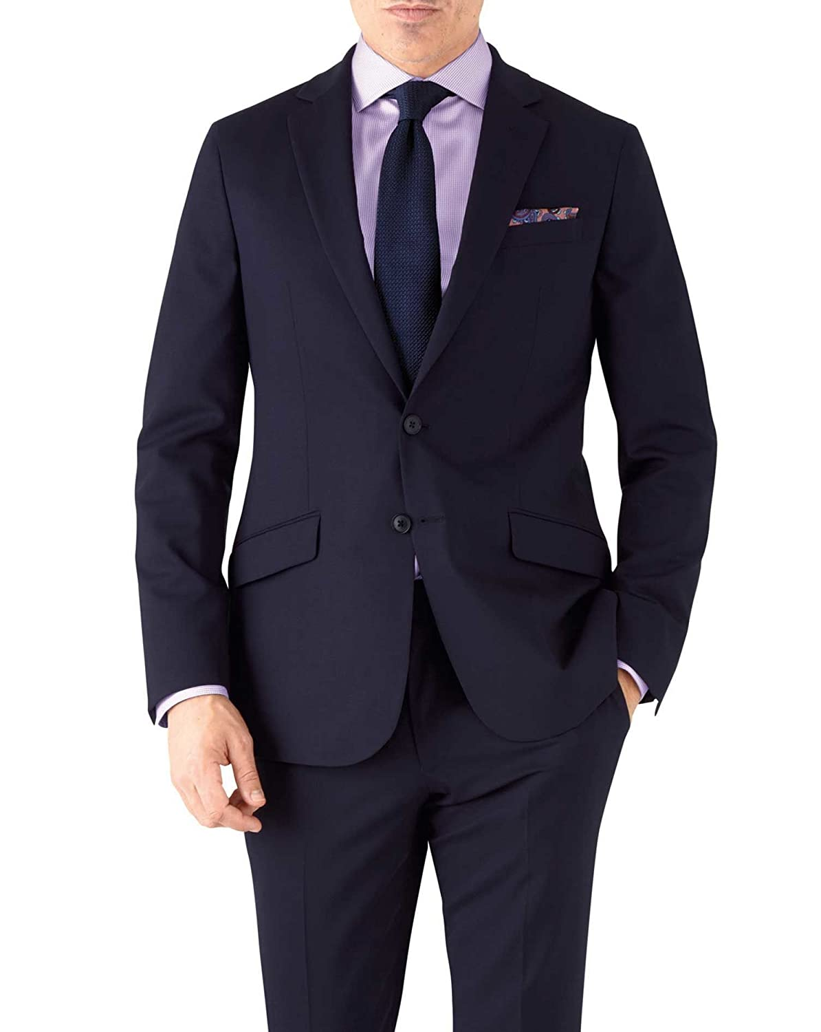 2bf0dad6e722 Navy Slim Fit Performance Suit Wool_Stretch Jacketby Charles Tyrwhitt:  Amazon.co.uk: Clothing