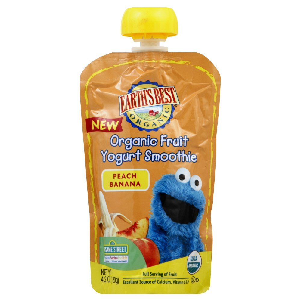Earth's Best Organic Sesame Street Fruit Yogurt Smoothie - Peach Banana - 6 pack-4.2 ounces