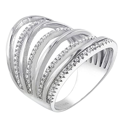 The Ice Empire Jewelry Long Wide Knuckle Sterling Silver Clear Channel Set CZ Multi-Row Ring
