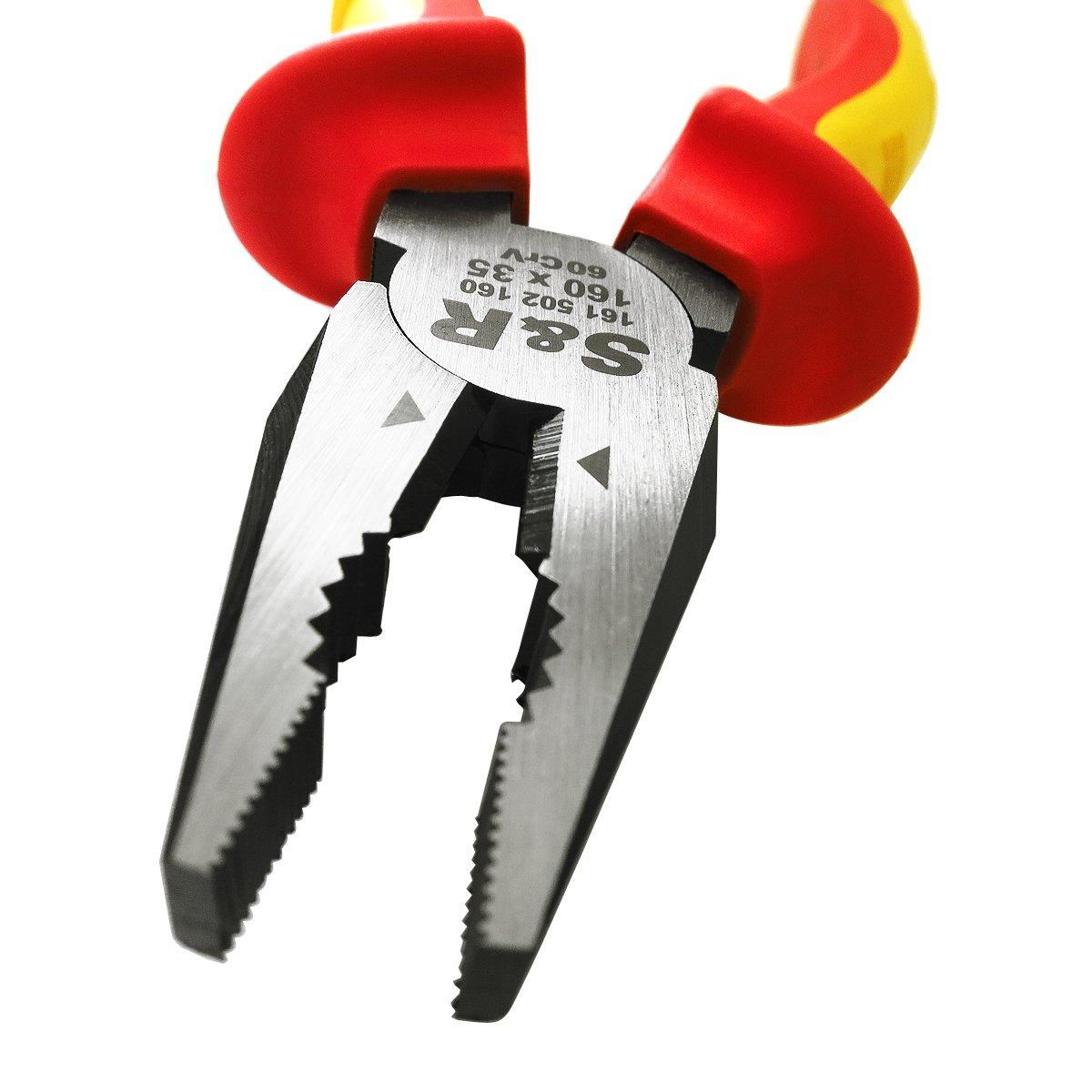 s/érie VDE test/é 1000 volt S/&R Pince d Electricien Universelle VDE 160 mm x 35 mm acier CR-V