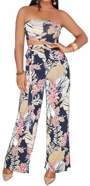 04bcf5ae54 SHOWNO-Women Off Shoulder Wide Leg Palazzo Pants Flower Print Plus Size  Bodycon Bodysuit Jumpsuit