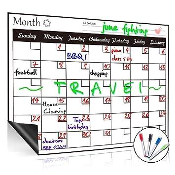 Pizarra blanca magnética de borrado en seco, con calendario mensual, organizador mensual y semanal