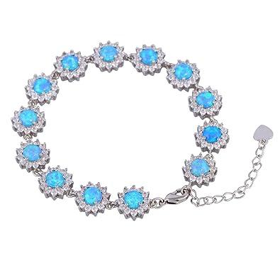 Silver Blue Fire Opal Bracelets bangles for teen girls pulseiras femininas 19cm 7.48 inch B468 FEKC4LO7Rr