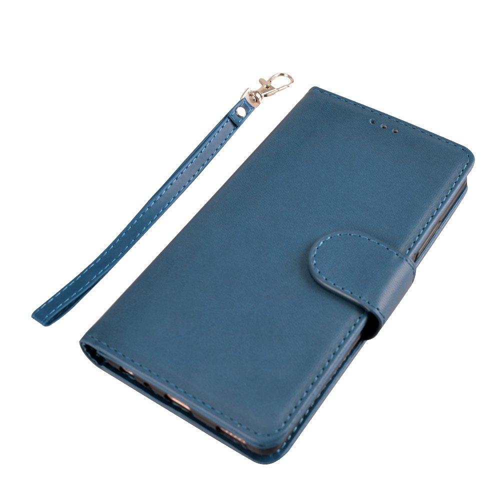 Huawei P9 Case, MagicSky Wallet Case Folio Flip Premium PU Leather Case Cover with Card Holder Slot Pockets, Wrist Strap, Magnetic Closure For Huawei P9 - Blue