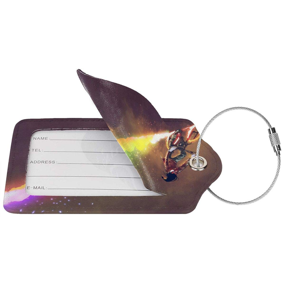 Lucaeat Colorful Burning Wheels Luggage Tag PU Leather Bag Tag Travel Suitcases ID