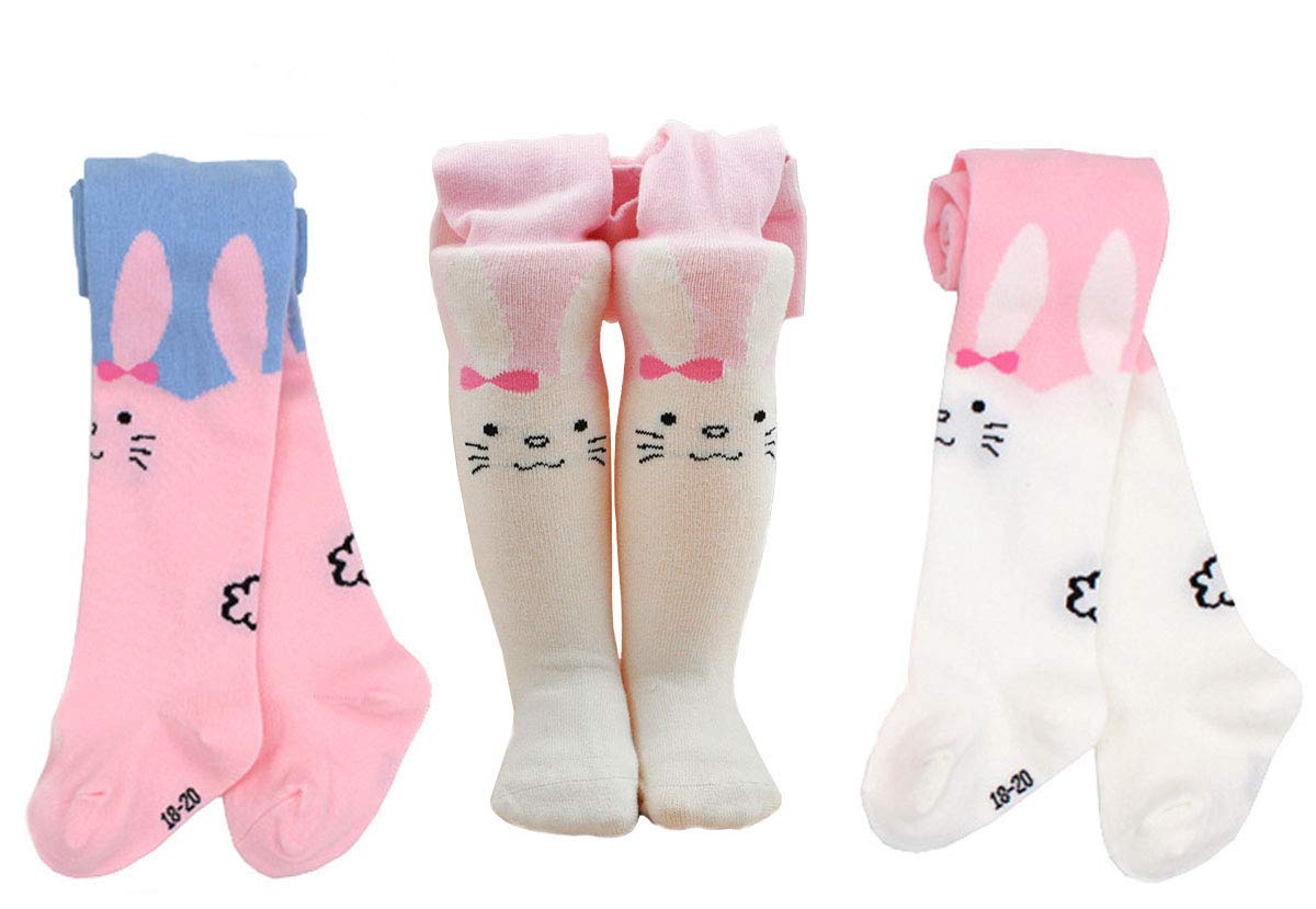 EIAY Shop Kids Seamless Cotton Knit Tights Girls Pantyhose Stockings 3-5 Years (Pack of 2 Cute Rabbit)