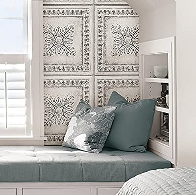 NuWallpaper NU2495 Reclaimed Tin Peel & Stick Wallpaper, White and Off-White