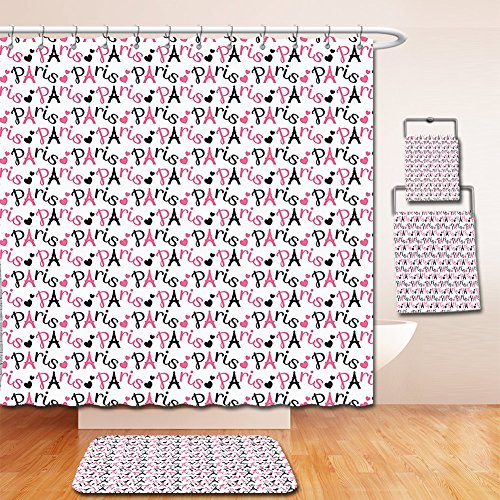 Nalahome Bath Suit: Showercurtain Bathrug Bathtowel Handtowel Paris Decor Collection French Tourist Location Sweet Paris Theme Classic Artistic Romantic Interior Design Pink and - Locations Denver Macy's