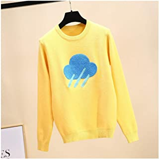 HUAIX Home Arcobaleno Girocollo Thunder Pullover Snowflake Intarsia Sweater Sweet Brand Design Maglieria Fashion (Color : Yellow, Size : One Size)