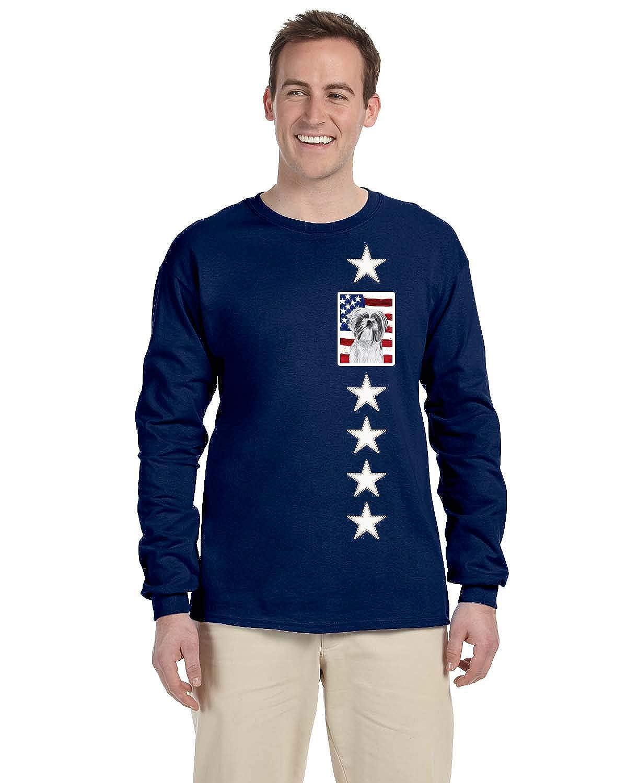 Carolines Treasures SC9015-LS-NAVY-S USA American Flag with Shih Tzu Long Sleeve Blue Unisex Tshirt Adult Small Multicolor S