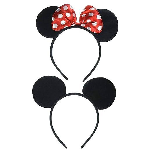 Amazon.com : THNHA Mickey Minnie Mouse Ears Headband-Party Supplies - Mickey Head Garland-Birthday decor THNHA Mickey Mouse headband birthday party supplies Mouse Ears Baby Hairs Accessories Girl Headwear party (Pack of 1) : Beauty