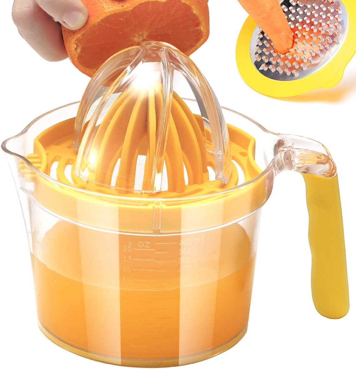 RIVTUN Lemon Orange Manual Juicer Hand Squeezer with Built-in Measuring Cup and Grater Anti-Slip Reamer Extraction Egg Separator,Non-Slip Silicone Handle 20OZ