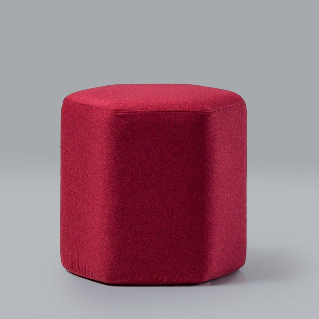 Brilliant firm Paño Hexagonal de Tela Taburete casa Sala de Estar sofá Taburete Moderno Simple 42  42  40 cm (Color : Red)