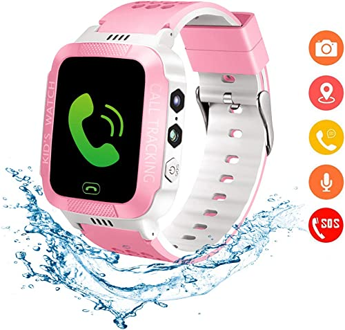 Beacon Pet Kids Smartwatch with GPS Tracker IP67 Waterproof Smart Watch for Kids, Toddlers Phone Watch with Alarm Clocks White and Pink