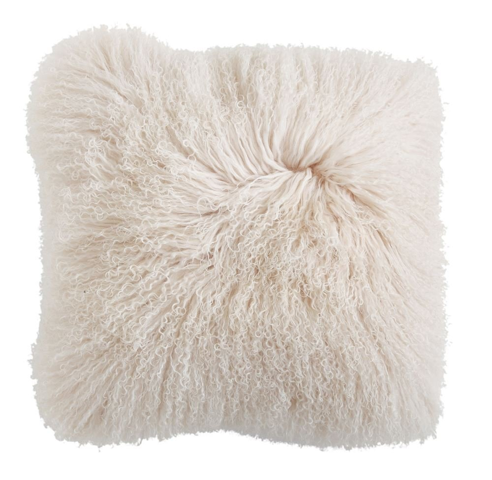 クリエイティブCo OpクリームMongolian Lamb Fur枕 B07B4HZH7N
