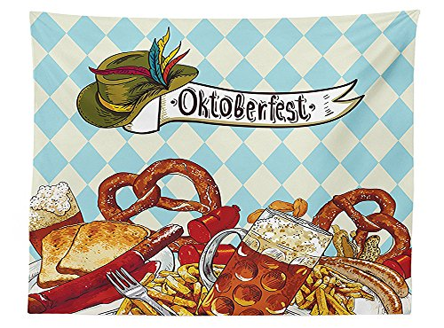 Sequined Alice Costumes (vipsung Oktoberfest Decorations Tablecloth Bread Pretzel Carnival Partying Germany Costume Cheerful Festival Illustration Dining Room Kitchen Rectangular Table Cover Brown)