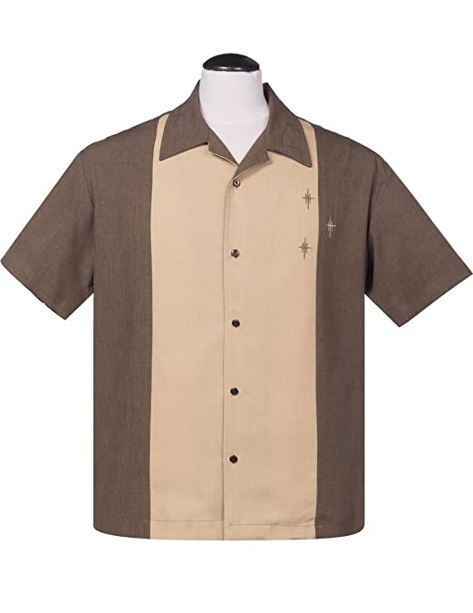 1950s Men's Clothing Steady Clothing Mens Crosshatch Button Up Bowling Shirt Coffee $39.99 AT vintagedancer.com