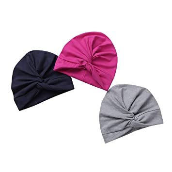 d45ce02f52b76 Freebily Lot de 3 Bonnets Bébé Nouveau né en Coton Crochet Papillons  Chapeau Unisexe Bébé Garçon