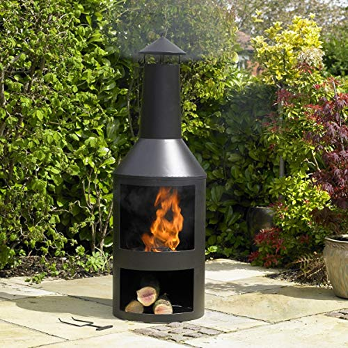 Kingfisher FPIT3 Black Steel Burner with Built in Log Store Outdoor Garden Furniture, Transparent, One Size