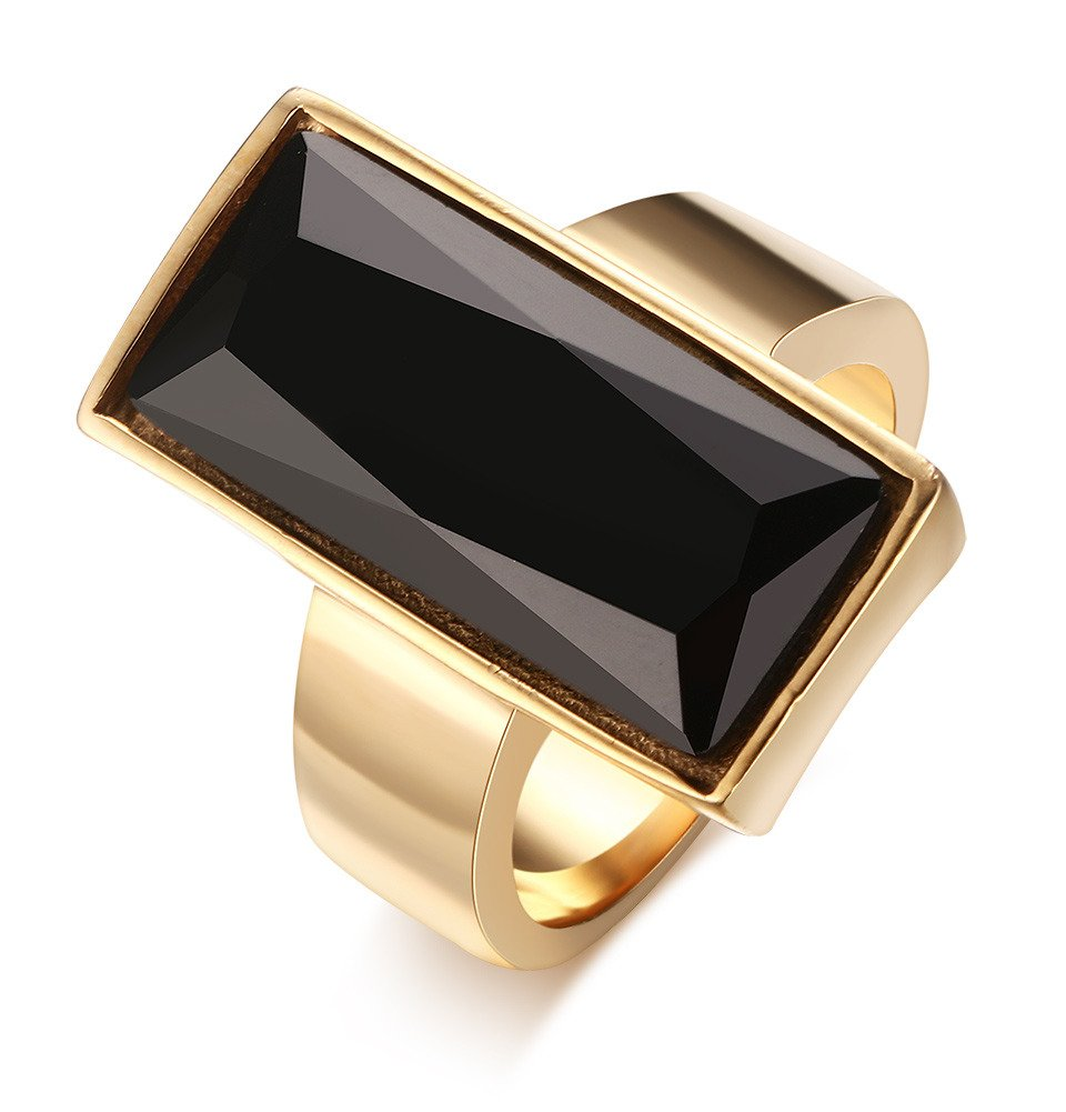 Stainless Steel Gold Plated Rectangle Large Glass Women's Fashion Cocktail Ring, Black , Size 8
