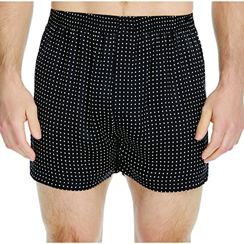 Majestic International Men's Polka Dot Charmeuse Boxer, Black, X-Large