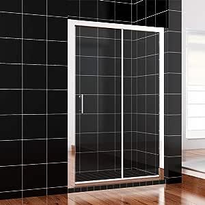 Mampara de ducha con puerta corredera simple, panel lateral y ...