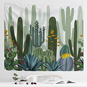 IcosaMro Cactus Tapestry Wall Hanging, Desert Cacti Nature Plant Floral Bohemian Boho Wall Art [Double-Folded Hems] Psychedelic Hippie Home Decor for Bedroom, Dorm, College, Living Room, 51x60, Green