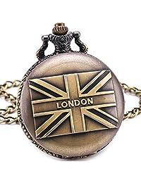 London England Flag British Antique Vintage Retro Bronze Pocket Watch Pendant Chain Clock Souvenirs