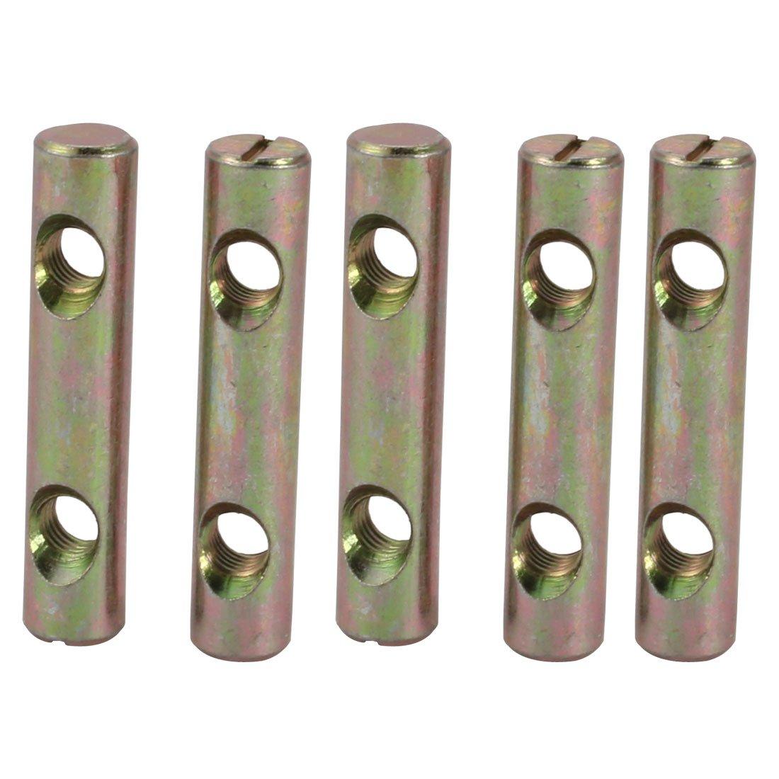 uxcell 5pcs M8x60mm Dual Hole Zinc Plated Iron Slotted Drive Cross Dowel Barrel Nut