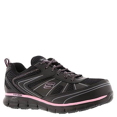 98eb12f133a9 Skechers Work Women s Synergy - Algonac Black Leather Mesh Pink Trim 5.5 ...