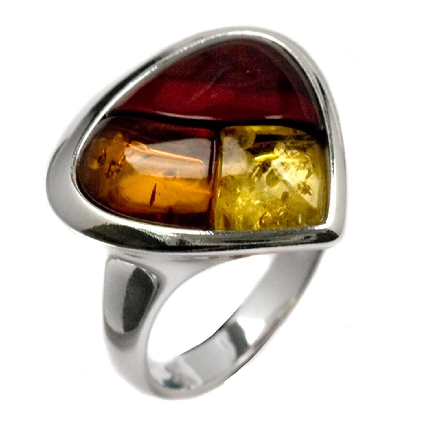 Multicolor Amber and Sterling Silver Mosaic Ring