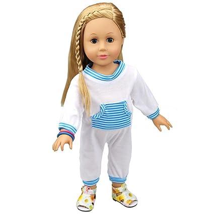 18 pulgadas American Girl Ropa Mignons Kawaii diseño pijamas Outfit para muñecas bebé muñeca, algodón