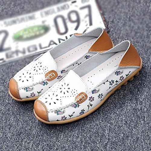 T-july Femmes Mocassin Chaussures Casual Slip On Anti Slip Slip Toe Mocassin Plat Blanc