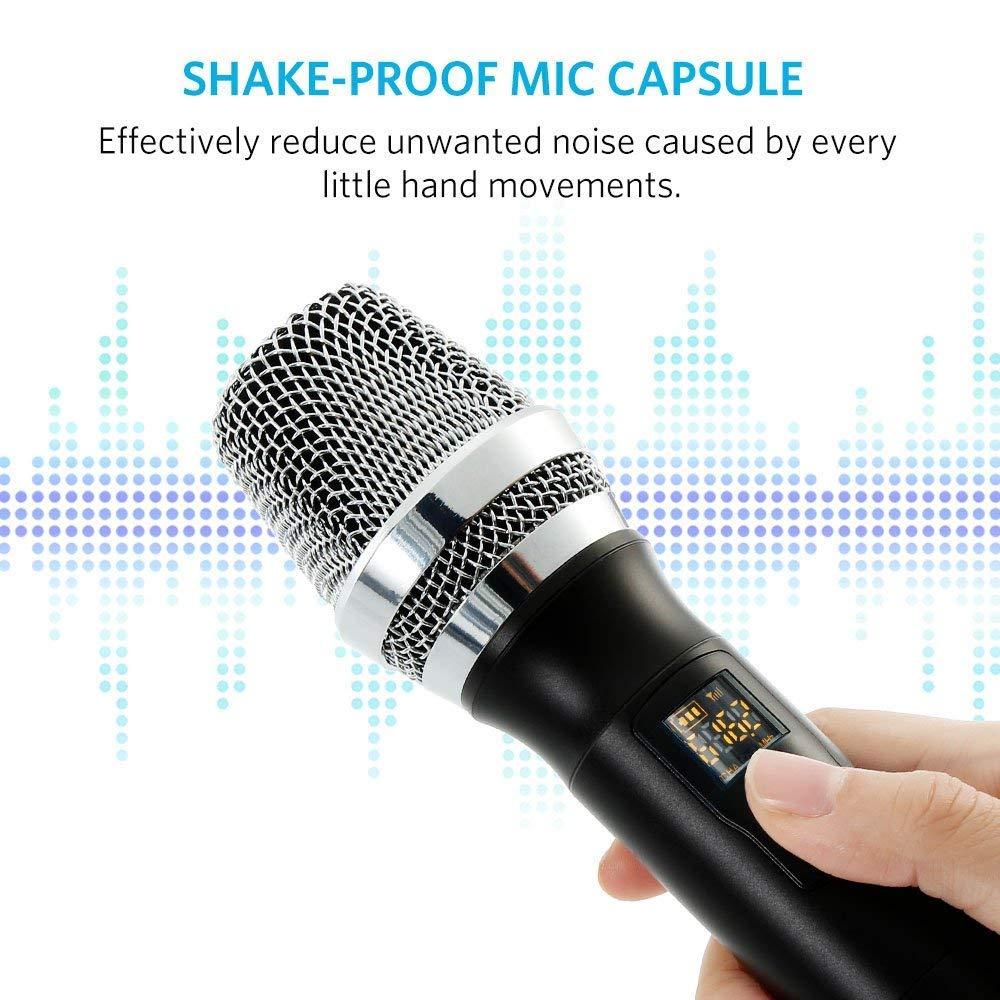 Micr/ófono Inalambrico Karaoke Profesional,Micr/ófono bluetooth con 10 canales seleccionable,Dos Micr/ófono con UHF Receptor Rcargable Puerto AUX Equipo Karaoke Sistema para KTV,Conferencia,Fiestas