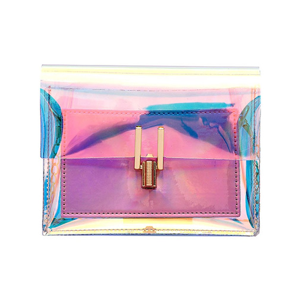 Clear Purse Women Turn Lock Chain Crossbody Shoulder Bags Transparent Retro Holographic Handbags Messager Bag
